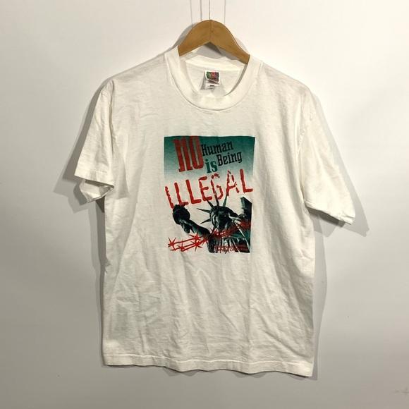 Vintage 90s anti-deportation t-shirt